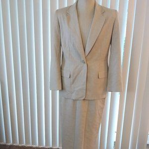 80s Pendleton Linen Blend 2pc Suite Blazer & Skirt